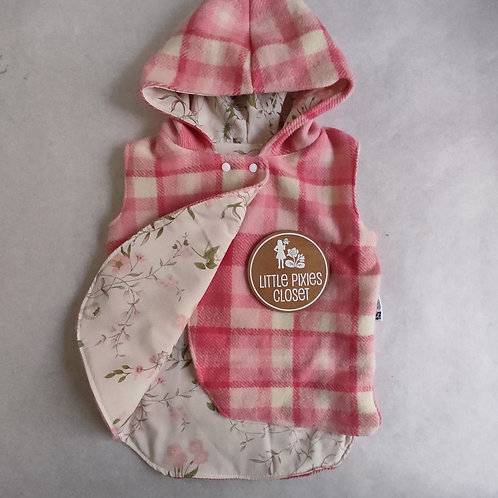 Reversible Pixie Vest - Pink Check Wool