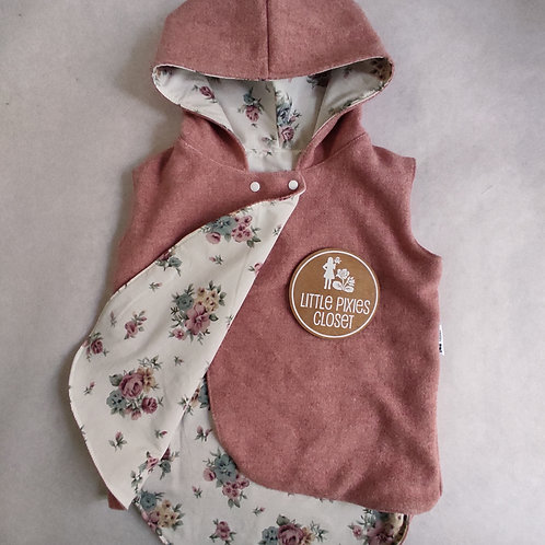 Reversible Pixie Vest - Strawberry Floral