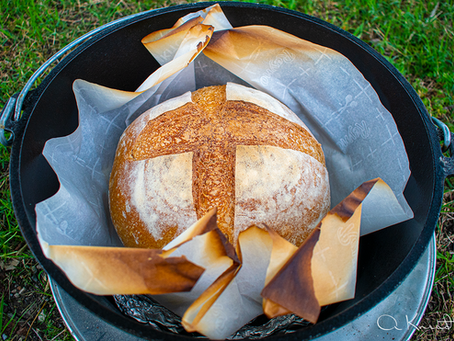 Sourdough No Knead Bread baked in a Camping Dutch Oven (Camping Bread)