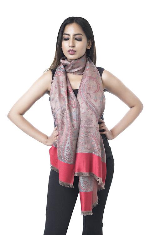 Women's Fine Wool Silk, Pashmina, Antique Paisely Artwork Stole