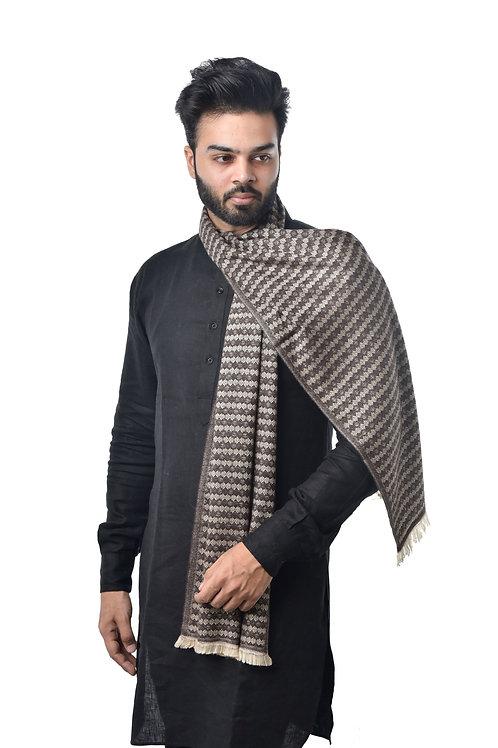 Unisex Cashmere Wool Stole, Jacquard Designer with Fringes, Muffler/ Stole