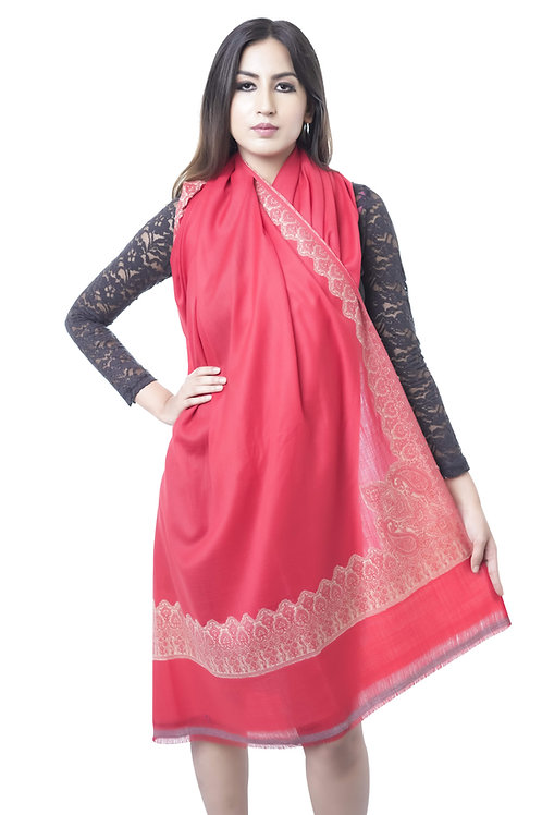 Women Merino Wool, Kashmiri Embroidered Border, Red, Shawl
