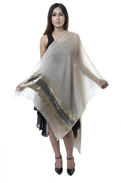 Women's Fine Wool, Pashmina Natural Beige with contrast sequins Stole