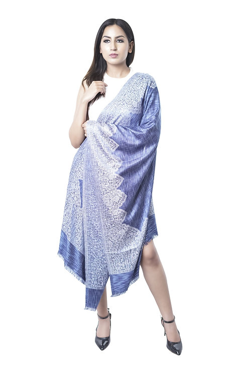 Women's Fine Wool Silk, Blue Silver,  Melange, Designer Border Stole