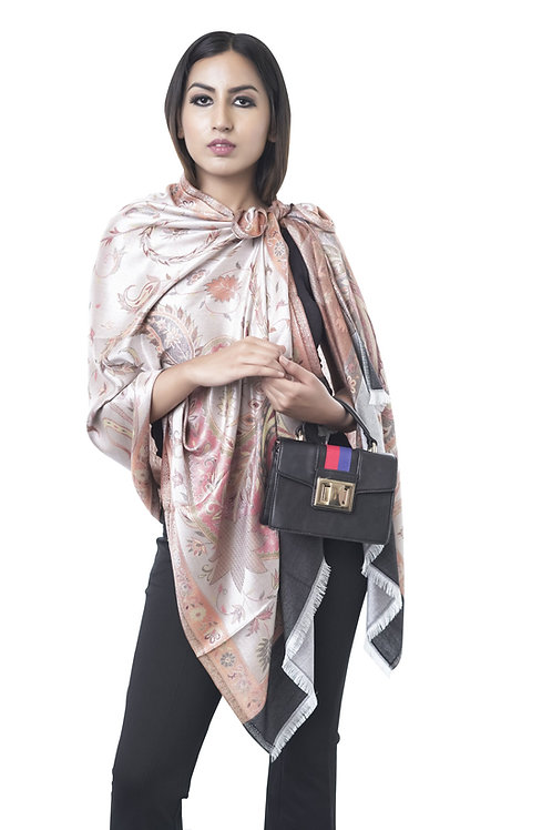 Women's Fine Wool Silk, Pashmina, Jamawar Paisely Weave, Stole
