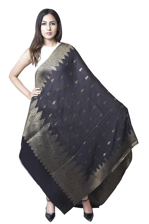 Women's Fine Wool, Pashmina, Black Metallic Zari All Over Pattern, Elite Wrap