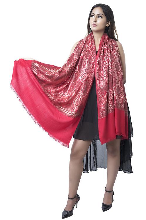 Women's Fine Wool, Pashmina, Nalki Embroidery, Maroon Stole