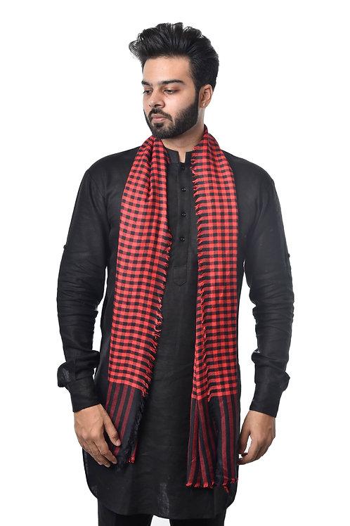 Unisex Fine Wool, Check Stole