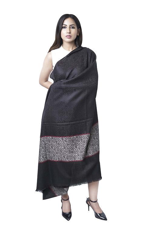 Black Women Fine wool, Kashmiri Border Shawl