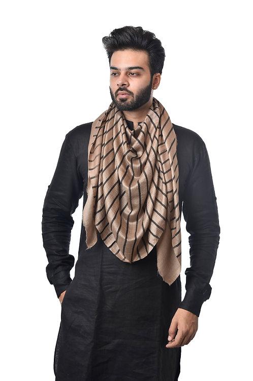 Unisex Fine Wool Silk, Pashmina, Stripe Stole