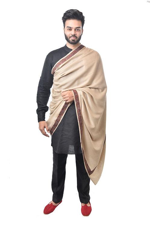 Men's Supreme Fine Wool Pashmina, Kashmiri, Embroidery, Daur, Elite Lohi