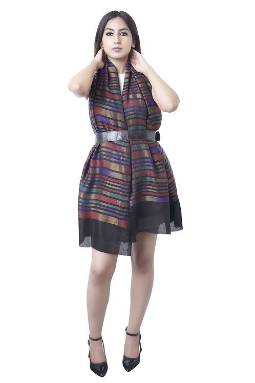 Women's Fine Wool, Pashmina with Metallic Zari Stripes Black Stole