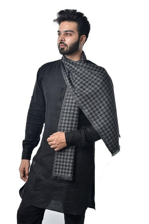 Men's Cashmere Wool Muffler, Jacquard Designer, Woven Stole