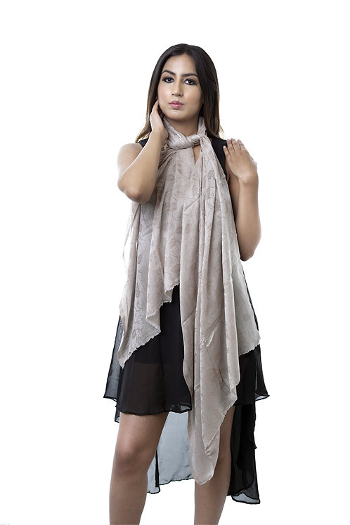 Women's Wool Pashmina, Self Embellished Paisely Textured Wrap