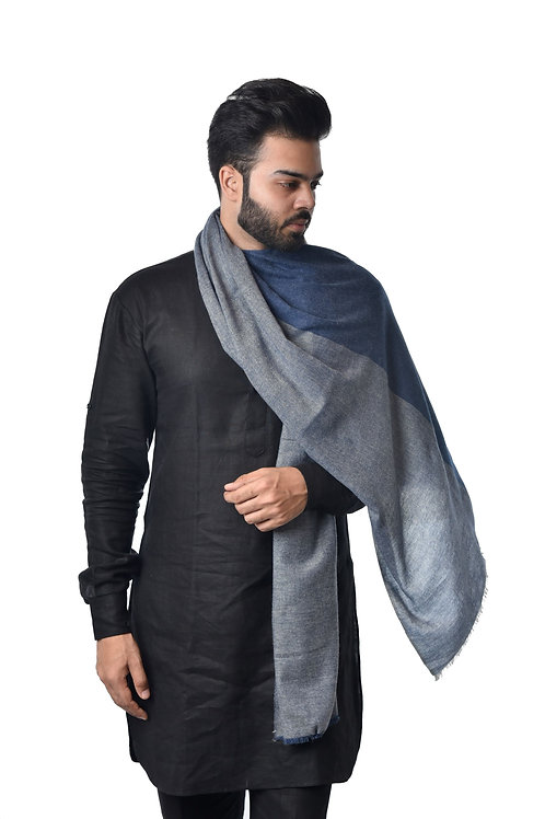 Unisex Fine Wool Color Blocking Pattern in Blue tones Stole