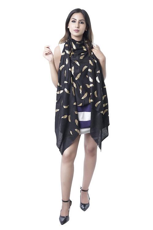 Women's Fine Wool Pashmina, Black Metallic Artwork Stole