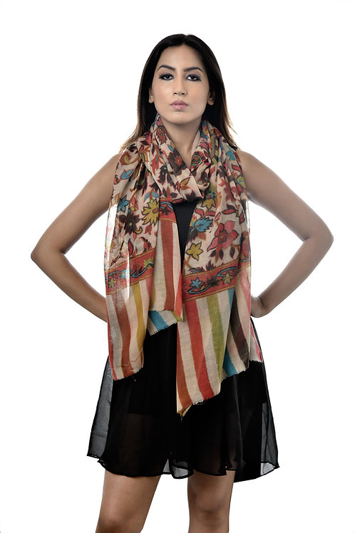 Women Fine Wool, Ivory with Multi Print Stole