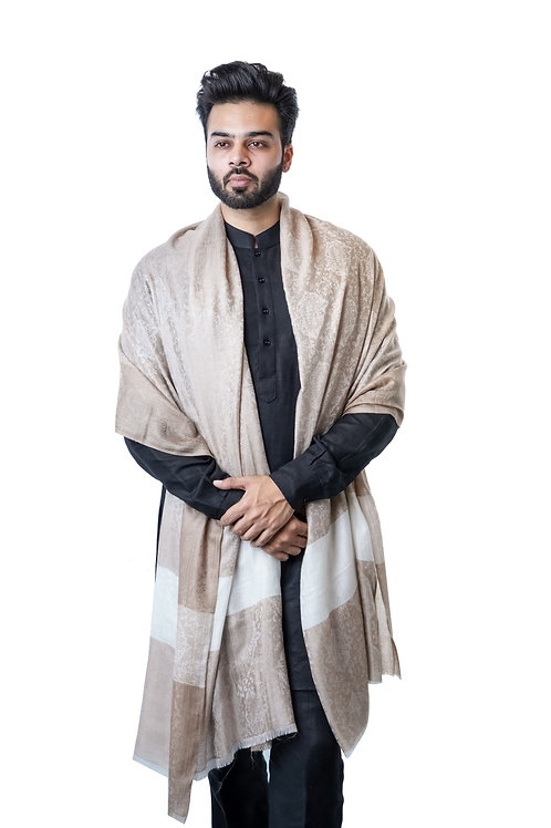 Mens Self Embellished Jacquard Border Pashmina Shawl
