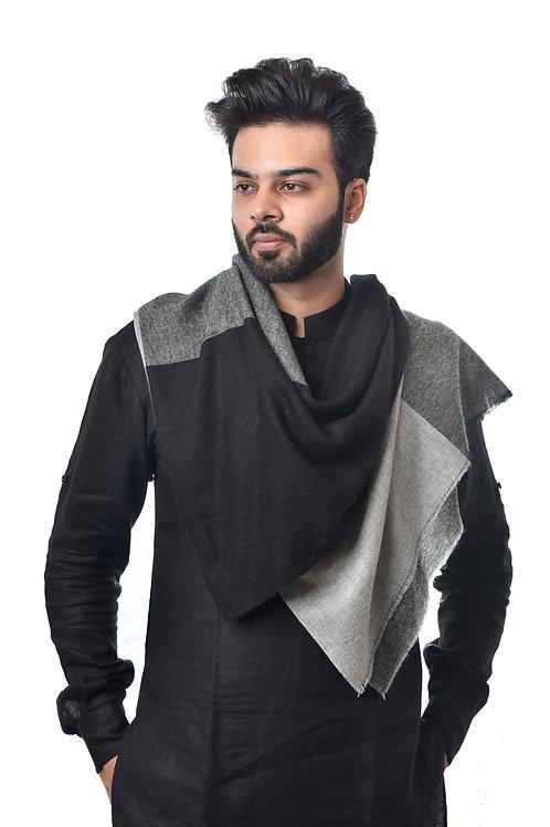 Unisex Fine Wool Color Blocking Black Grey Tones Stole