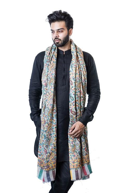 Men's Fine Pure Wool Pashmina, Kaani Jaal, Large Elite Shawl