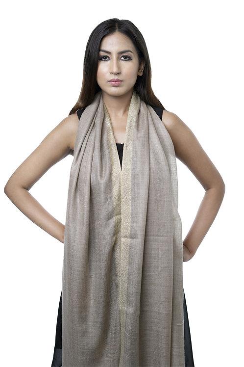 Women's Fine Wool, Pashmina Woven Stole with Metallic Zari Kani Border