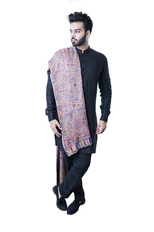 Men's Fine Pure Wool Pashmina, Kaani Jaal, Large Elite Shawl