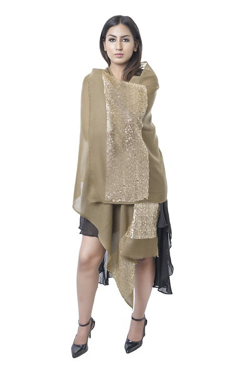 Women's Fine Wool, Pashmina, Tan with Golden Sequins Stole