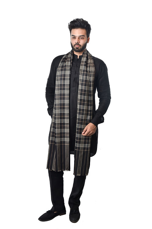 Men's Fine Wool Pashmina, Black Check Stripes Pattern Shawl