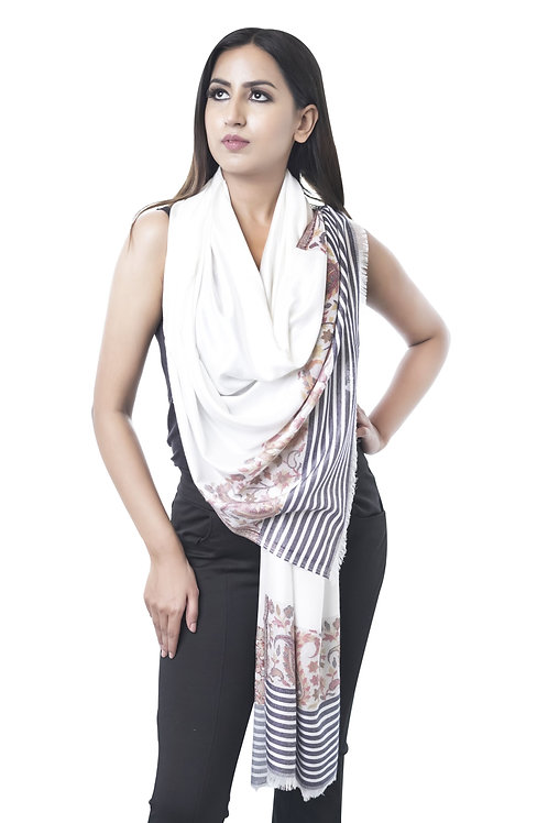 Women's Fine Wool Silk, Pashmina, White with Kaani Palla Stripe
