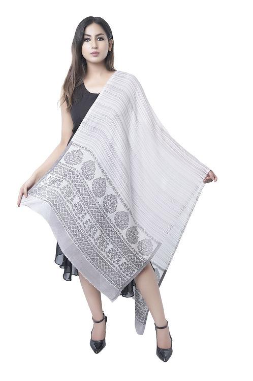 Women's Fine Wool, Pashmina, Kaani Cutting Palla with Stripes Light Grey Stole
