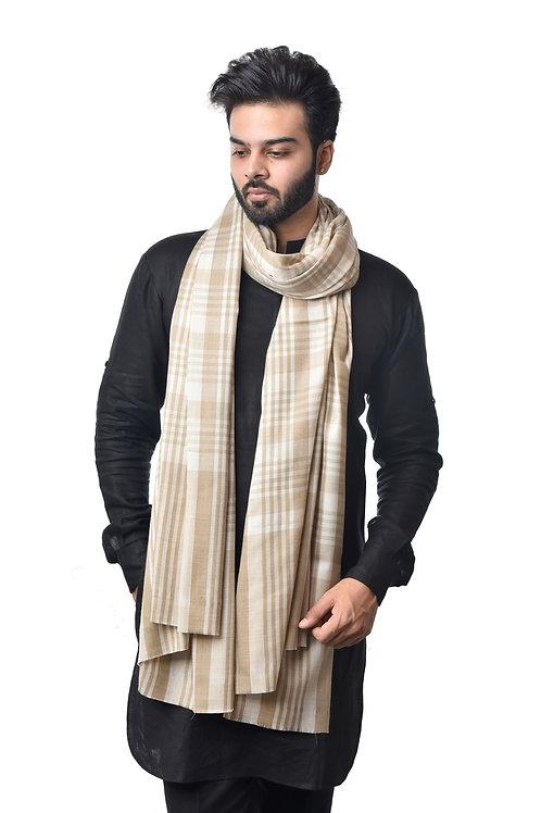 Men's Fine Wool Yarn Dyed Check Stripes Pattern, Pashmina, Lohi