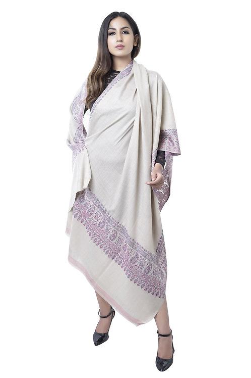 Women's Beige with Multicolor Stripe Shawl