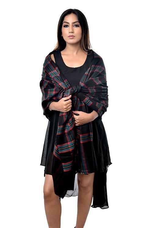 Unisex Fine Wool, Pashmina, Contrast Check Pattern Wrap