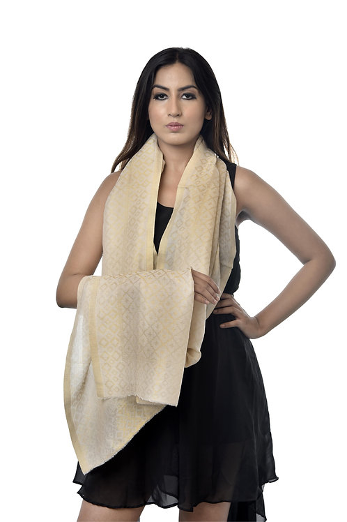 Women's Ivory Fine Wool, Pashmina with Metallic Zari Stole