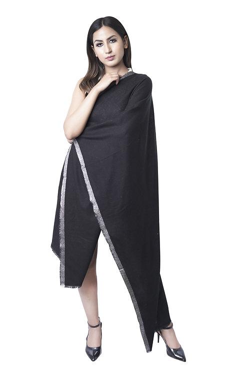 Women's Fine Wool, Jacquard Woven, Lurex Border, Black Pashmina Stole