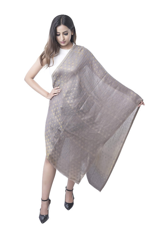 Women's Fine Wool Tencel, Metallic Zari Grey Stole