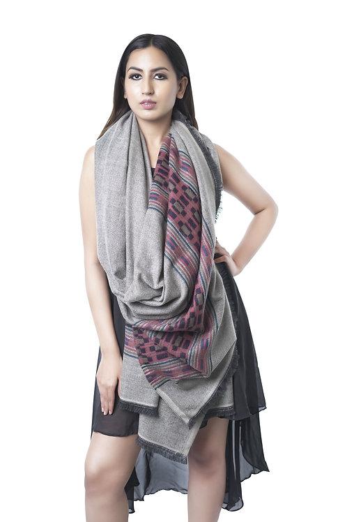 Women's Fine Wool Kullu Design, Lambs Wool Shawl
