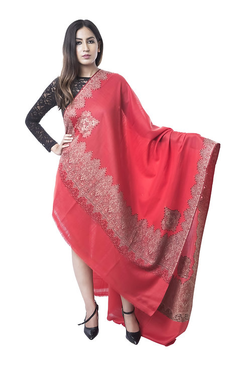 Women Fine Merino Wool, Kashmiri Embroidered Border , Red Shawl
