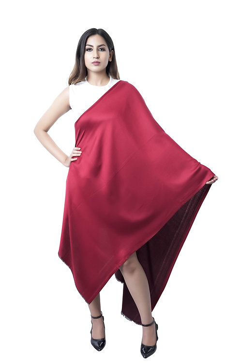 Women's Fine Wool, Satin Silk Weave, Red Maroon, Reversible Stole