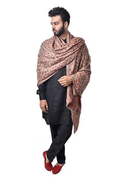 Men's Kaani Fine Wool Pashmina, Floral Paisely Pattern, Elite Lohi