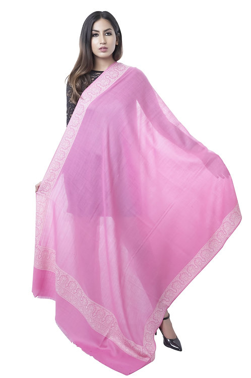 Women Merino Wool, Pink, Kashmiri Border Shawl