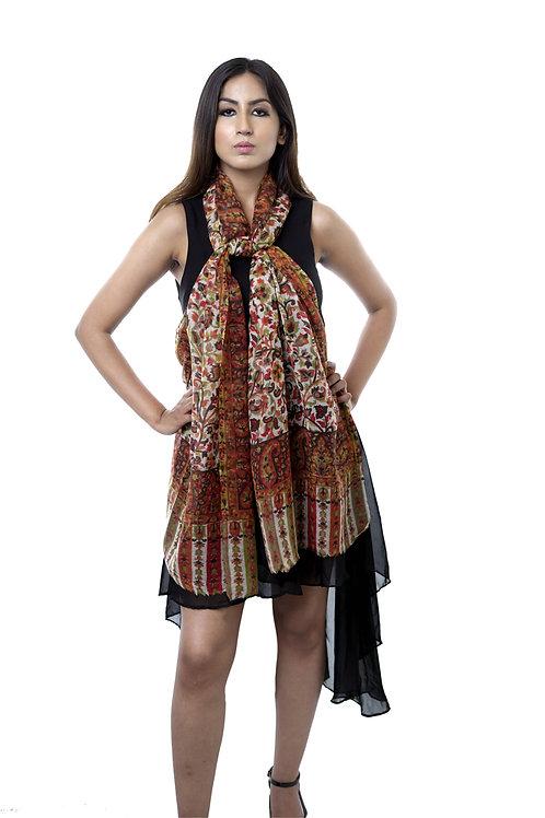 Women's Fine Wool, Kashmiri, White with Multi Print Stole