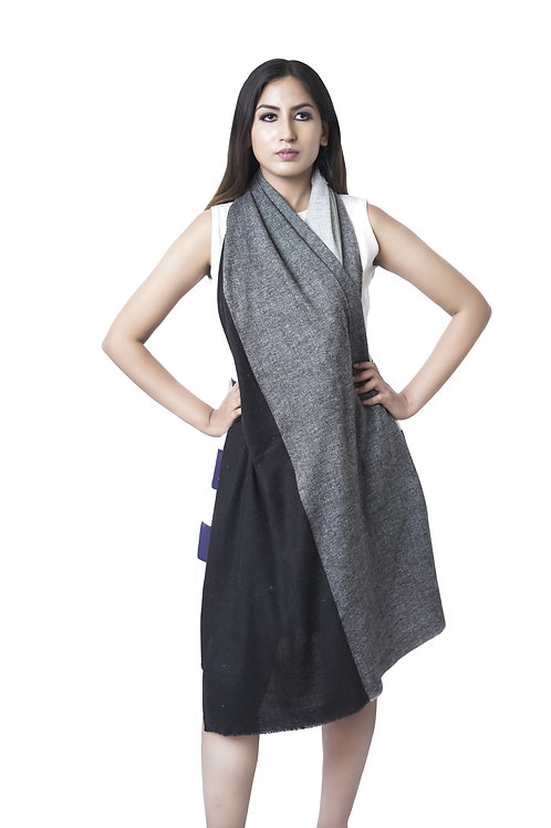 Unisex Fine Wool Color Blocking Black Grey Tones Stole