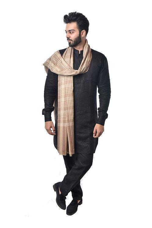 Men's Fine Wool Tone on Tone Yarn Dyed Check Stripes Pattern, Pashmina Lohi