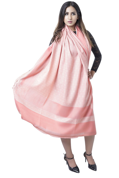 Women Merino Wool, Peach, Paisley Pattern, Kashmiri Jaal ShawlStol