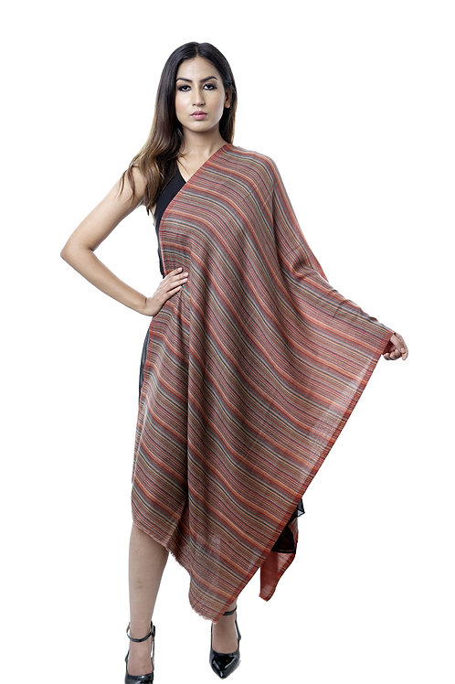 Women's Fine Wool Pashmina, Brown Stripes Stole
