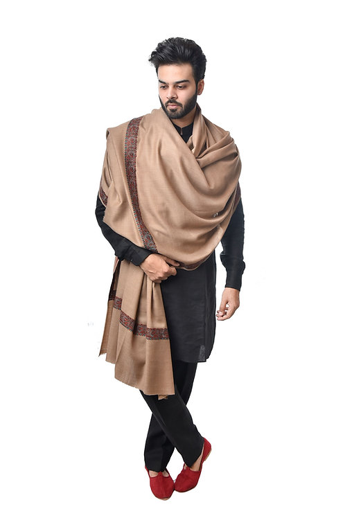 Men's Supreme Fine Wool Pashmina, Kashmiri, Embroidery, Daur, Elite Royal Lohi