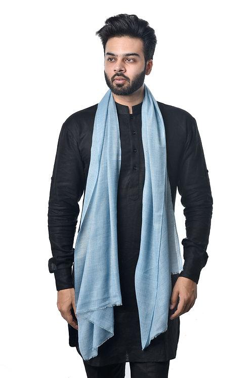 Unisex Fine Wool Woven Light Blue Stole