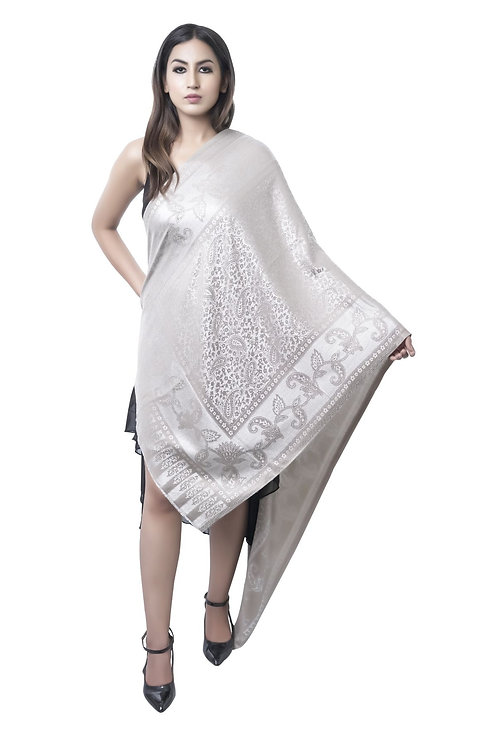 Women's Fine Wool, Silk Paisley Border with Self Embellished Ivory Stole