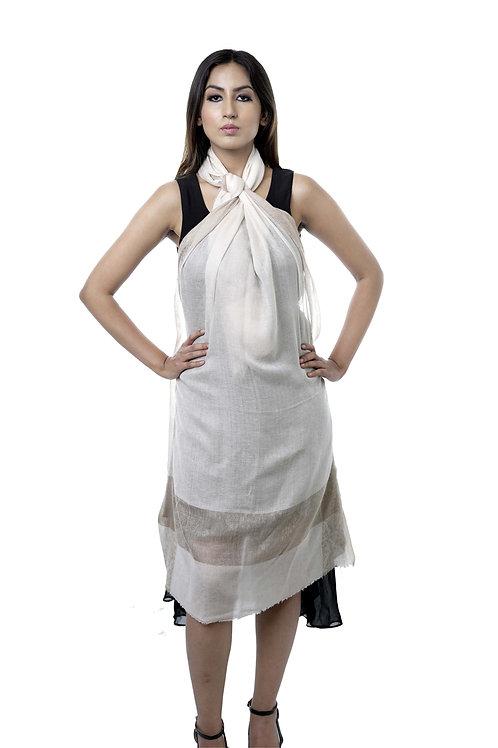 Women's Fine Wool Pashmina, Stripe & Self Embellished Border Stole